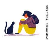 sad and depressed girl sitting... | Shutterstock .eps vector #595135301