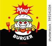comic cartoon vector meat... | Shutterstock .eps vector #595141334