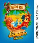 summer vacation illustration... | Shutterstock .eps vector #595141667