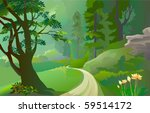 green amazon forest with lonely ... | Shutterstock .eps vector #59514172