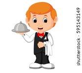 waiter restaurant serving... | Shutterstock . vector #595143149