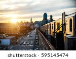 subway train in new york at... | Shutterstock . vector #595145474