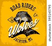 vintage american wolf bikers... | Shutterstock .eps vector #595145795