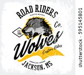 vintage american wolf bikers... | Shutterstock .eps vector #595145801