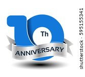 vector 10 years anniversary ... | Shutterstock .eps vector #595155341
