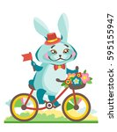a happy hare rides a bicycle... | Shutterstock .eps vector #595155947