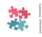 jigsaw puzzles icon in flat... | Shutterstock .eps vector #595155974