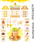 spice herb icons. healthy food... | Shutterstock .eps vector #595156079