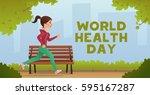 girl jogging. sport fitness run ... | Shutterstock .eps vector #595167287