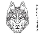 vector face of dog in line art... | Shutterstock .eps vector #595171211
