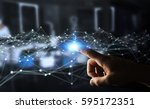 dot flying network touched by...   Shutterstock . vector #595172351
