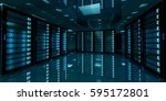 dark server room data center... | Shutterstock . vector #595172801