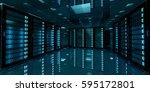 dark server room data center... | Shutterstock . vector #595172801