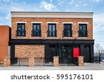 brick commercial building with... | Shutterstock . vector #595176101