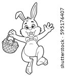 Cartoon Easter Bunny Line Art