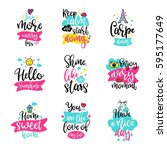 vector calligraphy with decor... | Shutterstock .eps vector #595177649