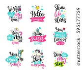vector calligraphy with decor... | Shutterstock .eps vector #595177739