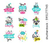 vector calligraphy with decor... | Shutterstock .eps vector #595177745