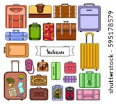 set of colored suitcases | Shutterstock .eps vector #595178579