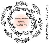 vector floral frame.hand drawn...   Shutterstock .eps vector #595179911
