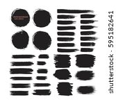 set of black hand drawn brushes ... | Shutterstock .eps vector #595182641