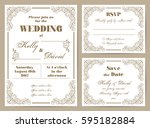 set of wedding cards in retro... | Shutterstock .eps vector #595182884
