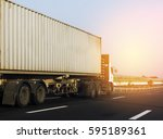 container truck on road | Shutterstock . vector #595189361