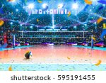 empty professional volleyball... | Shutterstock . vector #595191455
