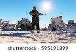 man terrorist wearing a mask... | Shutterstock . vector #595191899