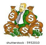 rich man with tons of money. | Shutterstock . vector #5952010