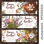 sketch happy easter horizontal... | Shutterstock .eps vector #595202324