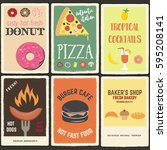 vector set of fast food posters  | Shutterstock .eps vector #595208141