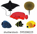 coral fish  stingray  tropical... | Shutterstock .eps vector #595208225