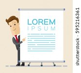 businessman  or manager points... | Shutterstock .eps vector #595216361
