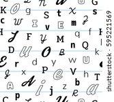 alphabet seamless pattern... | Shutterstock .eps vector #595221569