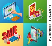 online shopping  e commerce  24 ... | Shutterstock . vector #595223645