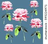 beautiful tender spring floral... | Shutterstock . vector #595224971