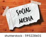 social media handwritten on... | Shutterstock . vector #595228601