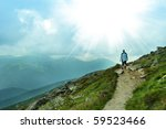 nice panorama view of hight mountains - stock photo