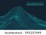 wireframe landscape background. ... | Shutterstock .eps vector #595237499