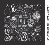 set of fruit in doodle style on ... | Shutterstock .eps vector #595238954