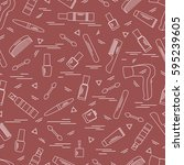 cute pattern of various... | Shutterstock .eps vector #595239605
