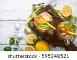 iced tea with lemon.... | Shutterstock . vector #595248521