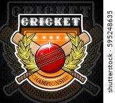 cricket ball with crossed club... | Shutterstock .eps vector #595248635