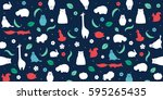vector flat animals design... | Shutterstock .eps vector #595265435