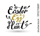 easter egg hunt lettering.... | Shutterstock .eps vector #595270889