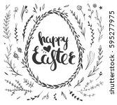 set of vector floral doodles... | Shutterstock .eps vector #595277975