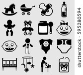 sixteen vector icons attributes ... | Shutterstock .eps vector #595280594