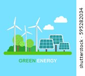 green energy windmills and... | Shutterstock .eps vector #595282034