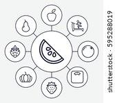 diet icons set. set of 9 diet... | Shutterstock .eps vector #595288019